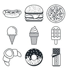 Black lineart icon set fast food and sweets vector