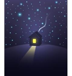 House under a starry sky vector