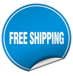 Free shipping round blue sticker isolated on white vector