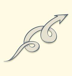 arrow drawn twist up vector image