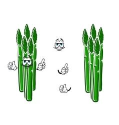 Asparagus vegetable spears cartoon character vector