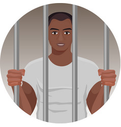 black skin man behind bars in round button vector image vector image