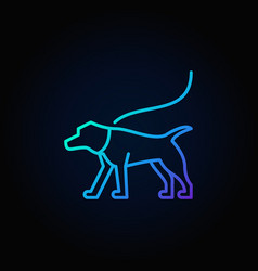 Blue dog on a leash icon vector
