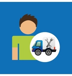 Character man car repair service design vector