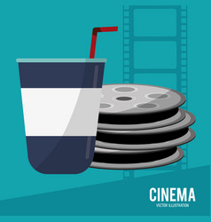 Cinema film reel soda disposable vector