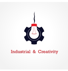 Creative light bulb and gear abstract vector image