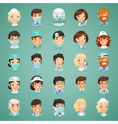 Doctors Cartoon Characters Icons Set vector image vector image