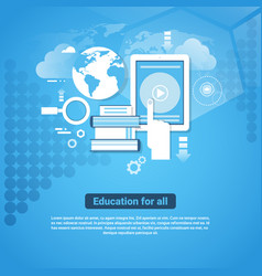 education for all template web banner with copy vector image