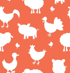 Farm animals silhouettes pattern vector image