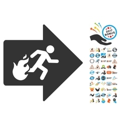 Fire exit icon with 2017 year bonus pictograms vector