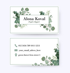 Floral business card design with eucalyptus leaves vector