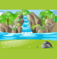 Forest scene with waterfall and field vector