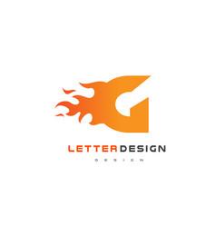 g letter flame logo design fire logo lettering vector image