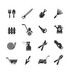 gardening tools and farming equipment icons vector image vector image