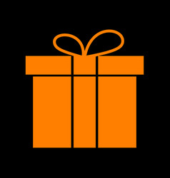 gift box sign orange icon on black background vector image