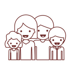 Half body people with woman and girl and man and vector