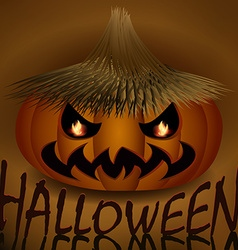 Halloween evil pumpkin in straw hat vector image