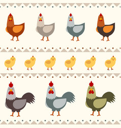 Hen rooster and chicken flat vector