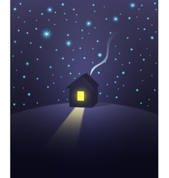 House under a starry sky vector