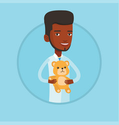 pediatrician doctor holding teddy bear vector image