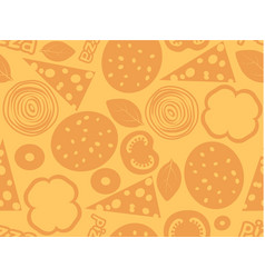 Pizza ingredients simple seamless pattern orange vector