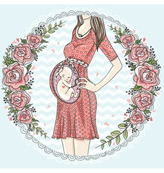 Pregnant woman with cute baby vector image vector image