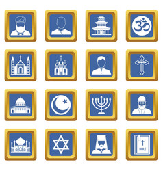 Religious symbol icons set blue vector