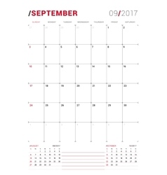 September 2017 print template monthly vector