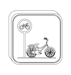 Silhouette button bicycle parking area vector