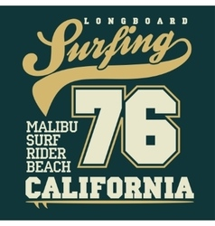 Surfing t-shirt graphic design vector image vector image