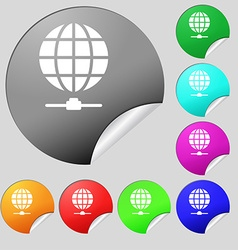 Website Icon sign Set of eight multi colored round vector image vector image