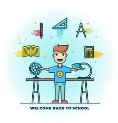 Welcome Back to School Line Style Flat vector image