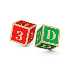 Word 3d written with alphabet blocks vector