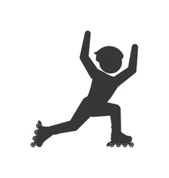 Roller skate silhouette pictogram shoe hobby icon vector