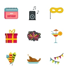 Holiday birthday icons set flat style vector