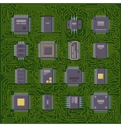 Microchip computer plate vector image