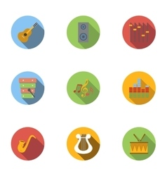 Tools for music icons set flat style vector image