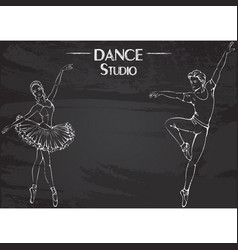 Dance line chalk ballet vector