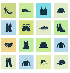 Garment icons set collection of briefs sneakers vector