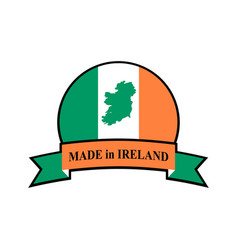 Mde in ireland emblem irish flag sign national vector
