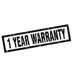 Square grunge black 1 year warranty stamp vector