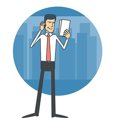 Businessman talking on the phone and reading vector