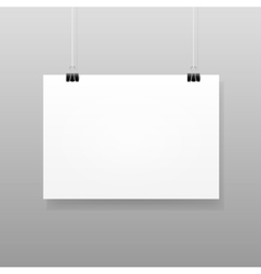 White blank paper wall poster mockup vector