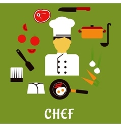 Chef profession with kitchen stuff icons vector