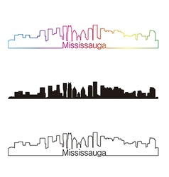 Mississauga skyline linear style with rainbow vector