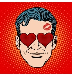 Retro emoji lover man face vector
