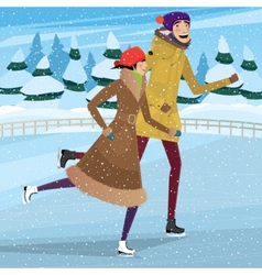 Couple on private ice rink vector