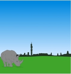 Pretoria skyline with male rhinoceros vector image