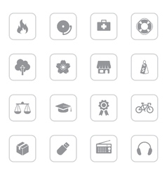 Gray web icon set 6 with rounded rectangle frame vector