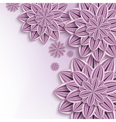 Nature background with purple 3d paper flowers vector